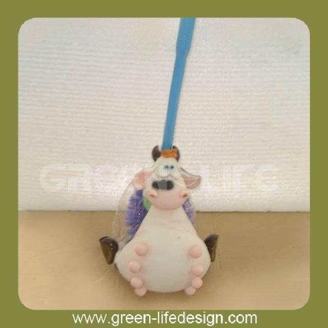 Resin cow shaped toilet brush holder