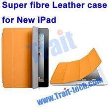 Super Slim Fibre Leather Smart Cover for New iPad / iPad 2 (Orange)