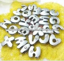 8mm alphabet slider charms with one rhinestone