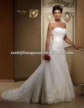 SJ1061 white new design beaded high quality arabic wedding dress