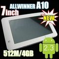 "cheap tablet pcs 7"" Android 2.3 Capacitive screen Allwinner A10 Cortex A8 4GB camera WIFI 1.5GHz G-Sensor"