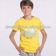 2012 fashion cotton children o-neck yellow raglan sleeve sports T shirt