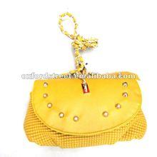2012 fashion rivet bag,sequin handbag, yellow bag HB-19651
