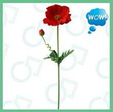 artificial poppy flower,poppy with fur,flocking poppy