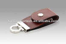 Portable leather pendrive key fob