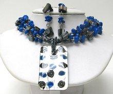 2012 fashion three ply deep blue,black agate growth ring gem pendant necklace set(A107754)