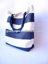 Reversible canvas striped blue bag