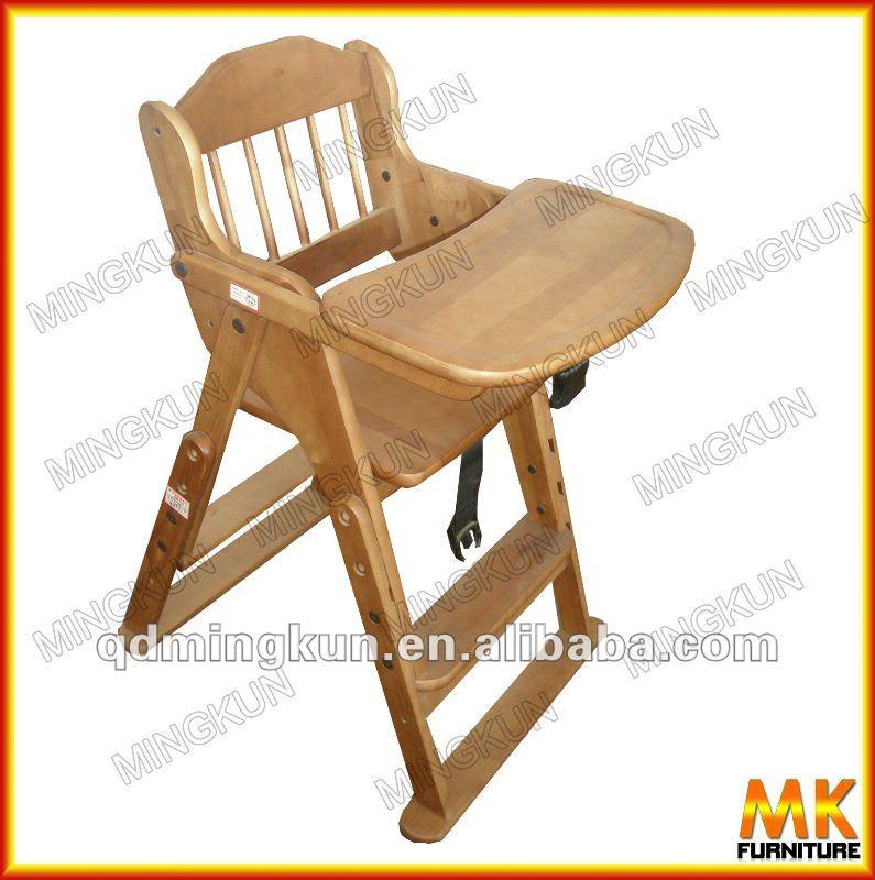 Doblada de madera del beb mesa de comedor silla cama for Silla de bebe de madera