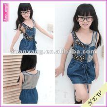 2012 new arrival maix jean stripe latest children dress;girls mini short jeans