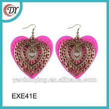 pink heart big dangling earrings for women