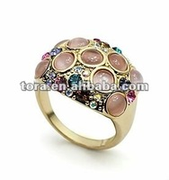 2012 fashion space time star opal gold plated finger rings