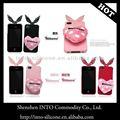 dulce de color rosa ribbonne bowknot conejo oídos precioso lindo caso de tpu cubierta para el iphone de apple 4 4s