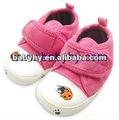 2012 nueva moda caliente de color rosa de alta calidad de tela de pana de niñas bebé vestido de zapatos para niño bh-s046e