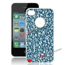 River Stones Pattern Leather Coated Mobile Phone Hard Cover for iPhone 4S/ iPhone 4(Blue)