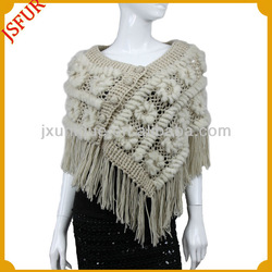 New fashion women's knit shawl with rabbit fur