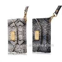 Luxurious Deiking snake skin PU Leather Case Pouch Bags Wallet Purse with Card Slot for iPhone 4 4S
