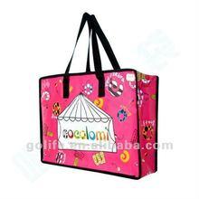 2012 hot sale pp woven zipper shopping bag