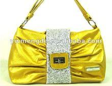 fashion women leisure drape golden brown bag leather handbag
