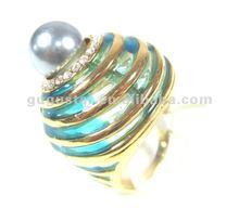 fabulous multi layered blue rhinestone pearl rings antique bronze plated