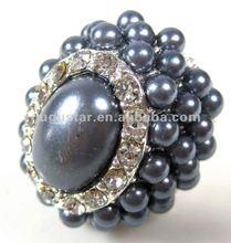rhinestone Chinese cymbidium pearl stretch rings antique silver plated