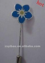 2012 Flower shape enamel metal long lapel pin with nickel plated