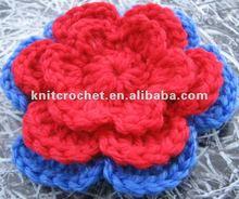 "DIY 3 1/4"" Crochet Flower Applique Made with Quality Acrylic Yarn"