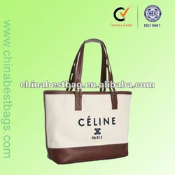 HD1065 canvas tote bag leather handle