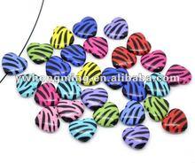 2012 Wholesale zebra strip acrylic beads! Loose acrylic beads 12mm heart shape