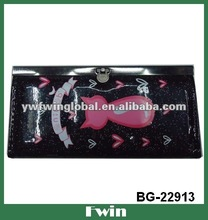Fashion black wallet and purse with cute pink cat in 2012