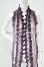 2012 new spring lace scarf with purple color