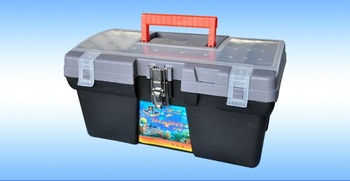 """16"""" blow mold hard plastic tool case with metal lock"""