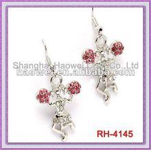 RH-4145 Cheerleader Dangle Earrings With Pink Rhinestone