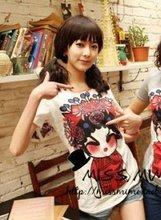 Cute Beijing Opera Dolls Printed Round Collar T-shirt White YZ12042102-1