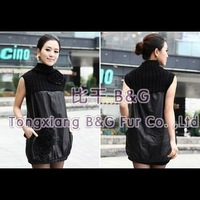 BG5940 Genuine Sheep Leather Poncho with Knitting Wool OEM Wholesale/Retail