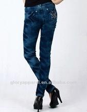 Fashion ladies rhinestone pocket jeans,stock jeans