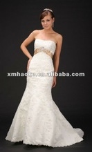 G0034 design elegant strapless bead and crystal lace fishtail wedding dress