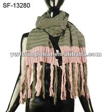 acrylic knitting with tassel scarf