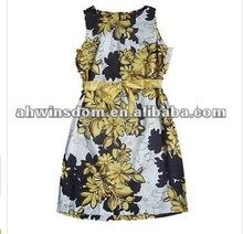 2012 fashion real silk printing chiffon women's dress