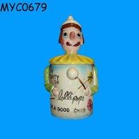 Porcelain clown doll lollipop candy jar