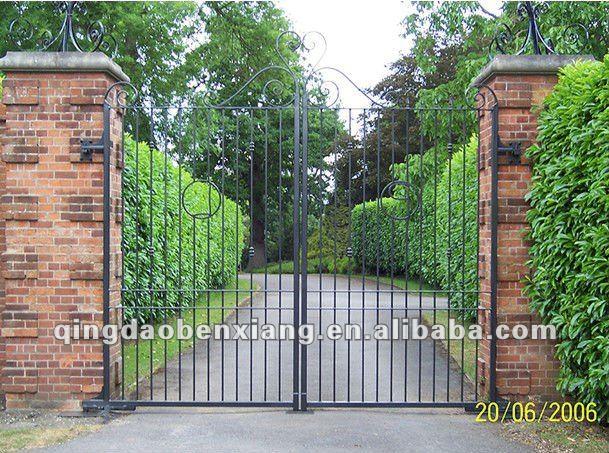 Double Iron Gate Design Park House Or School Gate Simple