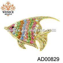 2012 Fashion Fish Animal metal brooch with crystal
