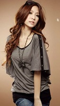 Nails Butterfly Sleeve T-shirts Deep Gray Y10031101