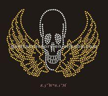 beautiful skull with wings hot fix rhinestone heat transfer