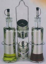 Stainless steel coat glass oil and vinegar bottle set