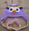 Children's Hand Crocheted Acrylic Owl Hat Earflap (KCC-TM0019 purple)