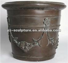 antique large bronze flowers pot for garden