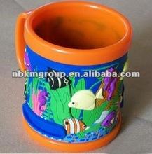 Colorful sea life animal 3d pvc plastic mug/mark cup