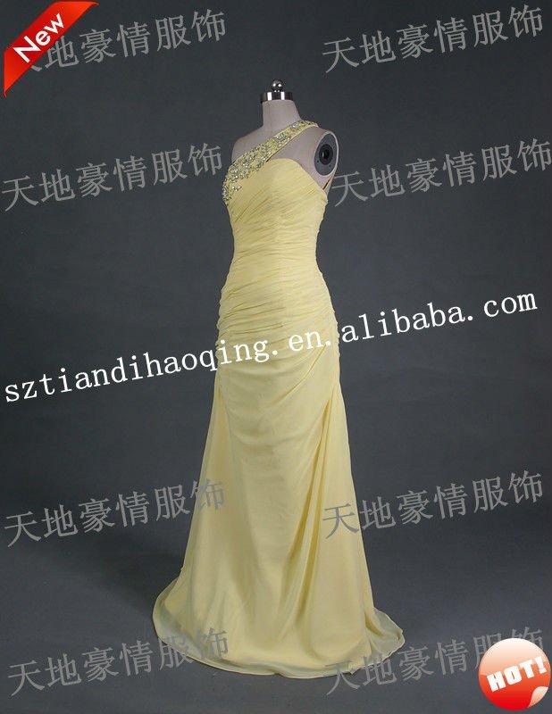 One shoulder in yellow chiffon wedding dress SH FS R13 View wedding