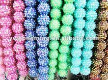 Custom made color resin ball beads!!Rhinestones pave resin ball beads for shamballa earring!!