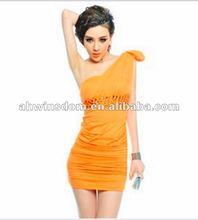 2012 fashion sexy off shoulder shitsuke chest wrap women's dress